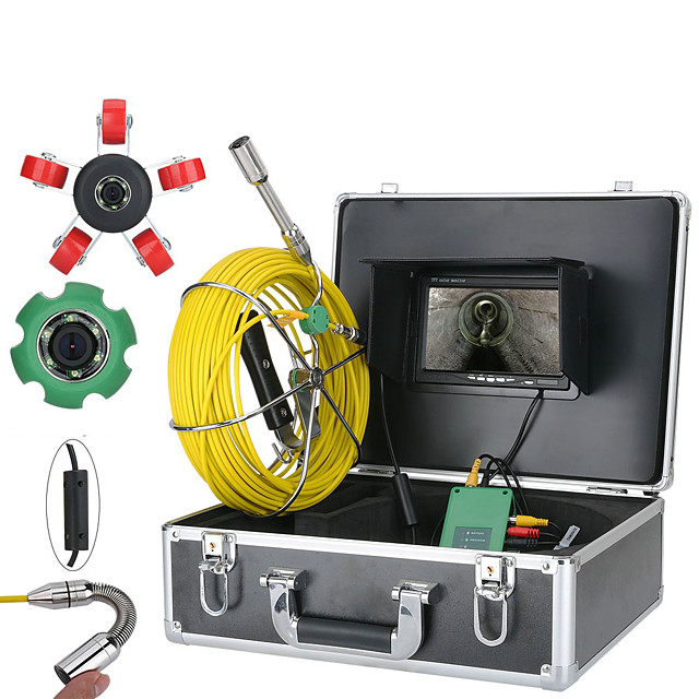 7 inch 22mm Inspection Video Camera 30M IP68 Waterproof Drain Sewer Inspection Camera System 1000TVL Camera with 6W LED Lights