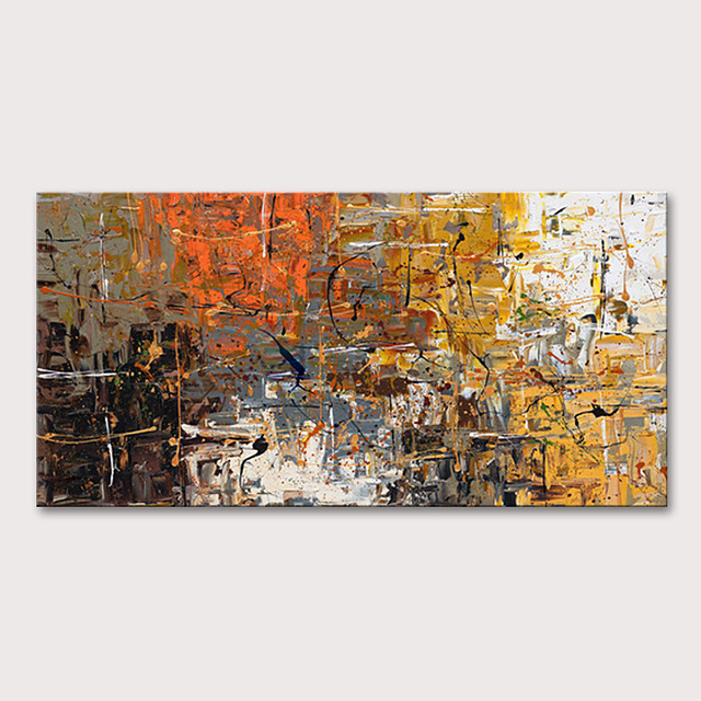 Oil Painting Hand Painted Horizontal Abstract Abstract Landscape Modern Rolled Canvas (No Frame)