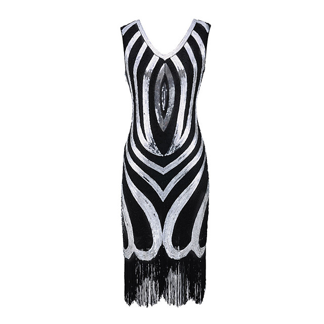 The Great Gatsby Vintage 1920s Flapper Dress Dress Party Costume Women's Sequin Costume Black / Golden / Red Vintage Cosplay Party Sleeveless