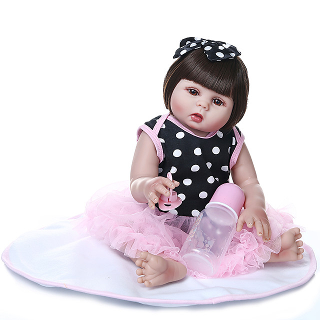 NPKCOLLECTION 20 inch Reborn Doll Baby Baby Girl Gift Hand Made Artificial Implantation Brown Eyes Full Body Silicone Silica Gel Vinyl with Clothes and Accessories for Girls' Birthday and Festival