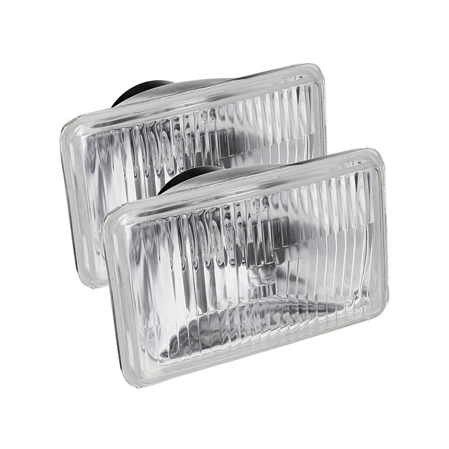 2PCS 4x6 Inch Rectangle Car Headlights with H4 Halogen Lamps 55W for Toyota Hilux Ute 1983-2003