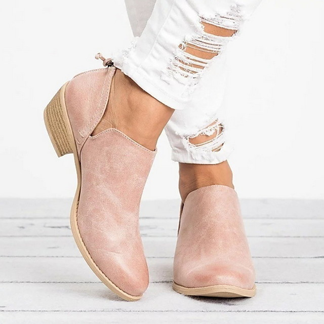 Women's Boots Fall & Winter Low Heel Round Toe Daily Solid Colored PU Booties / Ankle Boots Pink / Black / Beige