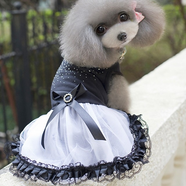 Dog Dress Color Block Wedding Dog Clothes Black Costume Polyster XS S M L XL XXL