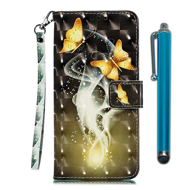 Case For LG Stylo 4 / LG Stylo 5 Wallet / Card Holder / with Stand Full Body Cases Two Golden Butterflies PU Leather