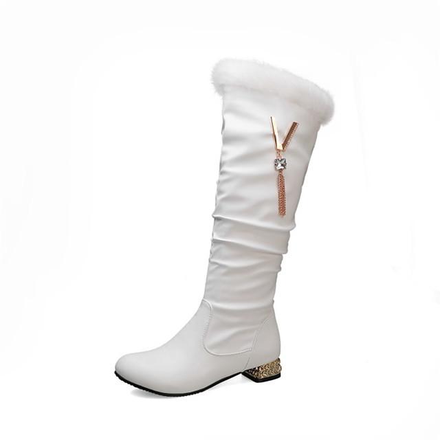 Women's Boots Knee High Boots Chunky Heel Round Toe Rhinestone / Tassel PU Knee High Boots Fall & Winter Black / White / Pink