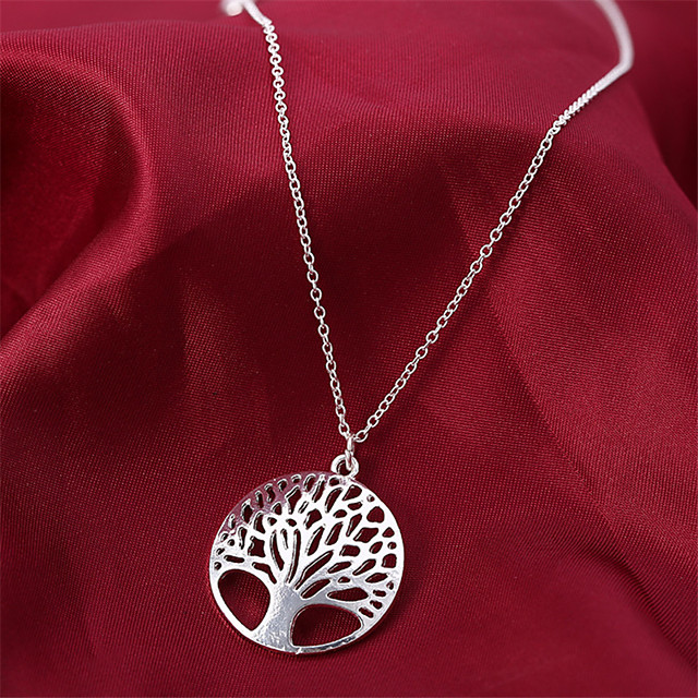 Women's AAA Cubic Zirconia Pendant Necklace Classic life Tree Classic Chrome Silver 45 cm Necklace Jewelry 1pc For Daily