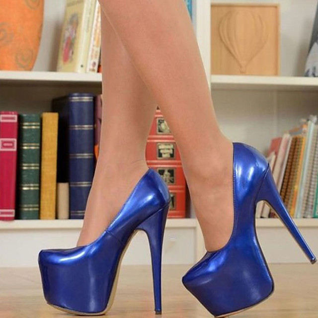 Women's Heels Stiletto Heel Round Toe Patent Leather Spring &  Fall Royal Blue / Party & Evening