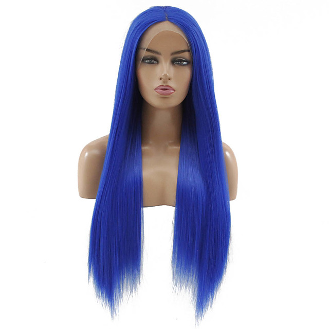 Synthetic Lace Front Wig Straight Matte Kardashian Middle Part Lace Front Wig Long Blue Synthetic Hair 22-26 inch Women's Heat Resistant Women Middle Part Blue / Glueless