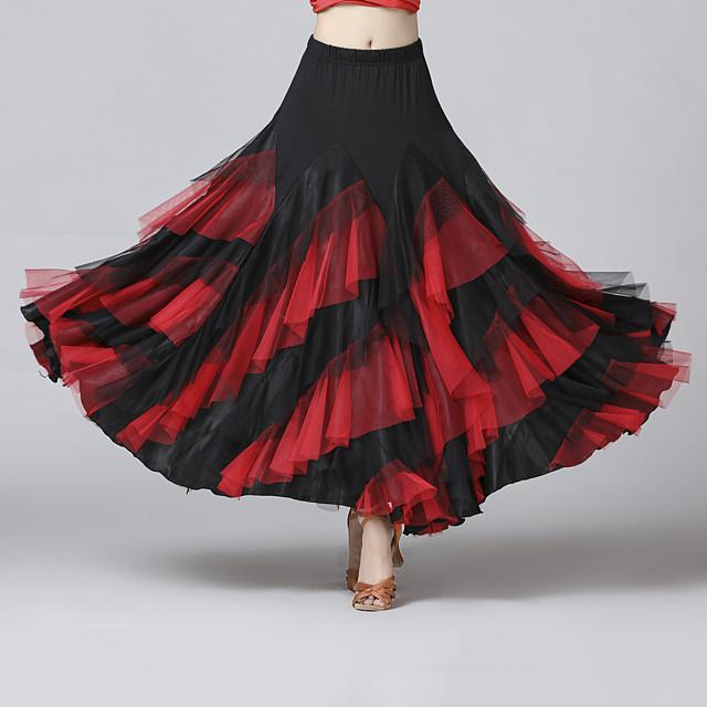 Ballroom Dance Skirts Cascading Ruffles Split Joint Women's Training Performance Natural Mesh Chiffon Milk Fiber