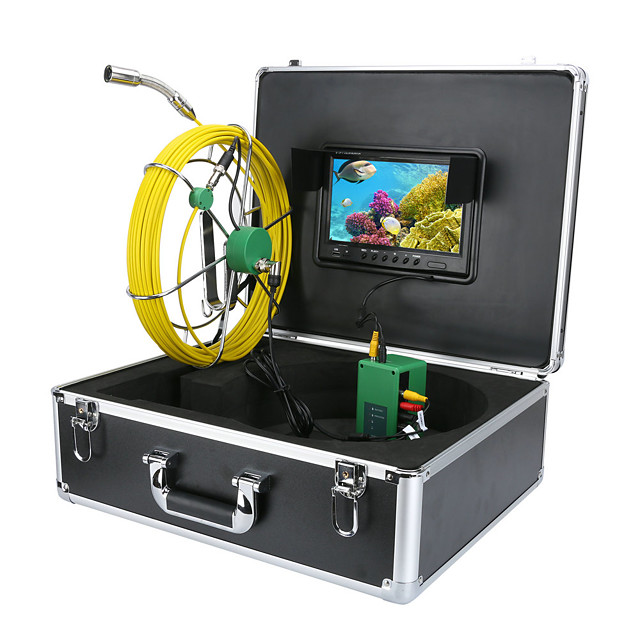 Pipe Sewer Pipeline Inspection Camera 30M IP68 Waterproof Drain Pipe Sewer Inspection Camera System 9LCD DVR 1000TVL Camera with 6W LED Lights 8GB TF Card