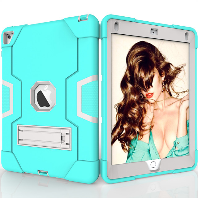 Case For Apple iPad Air / iPad 4/3/2 / iPad (2018) Shockproof / with Stand Back Cover Solid Colored TPU / PC / iPad (2017)