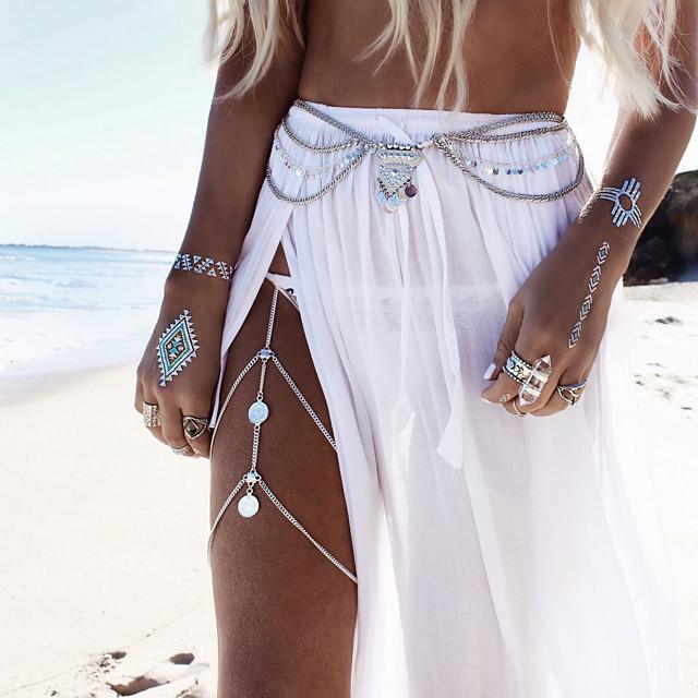 Body Chain Leg Chain Ladies Boho Bohemian Women's Body Jewelry For Casual Sports Tassel Fringe Alloy Gold Silver Golden Turquoise Leg Chain