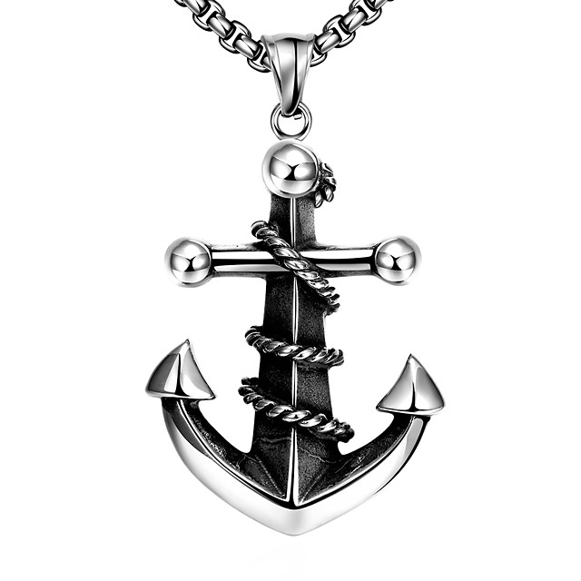 Men's Pendant Necklace Geometrical Anchor Fashion Titanium Steel Silver 60 cm Necklace Jewelry 1pc For Daily Holiday