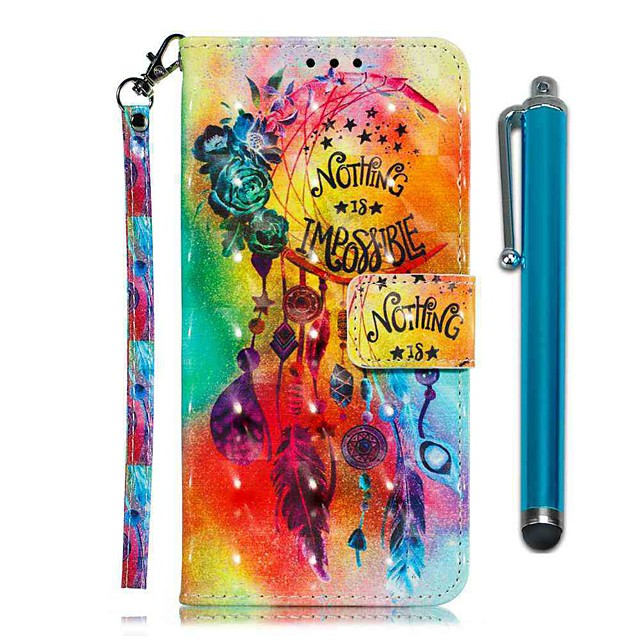 Case For LG Stylo 4 / LG Stylo 5 Wallet / Card Holder / with Stand Full Body Cases Flower Wind Chimes PU Leather