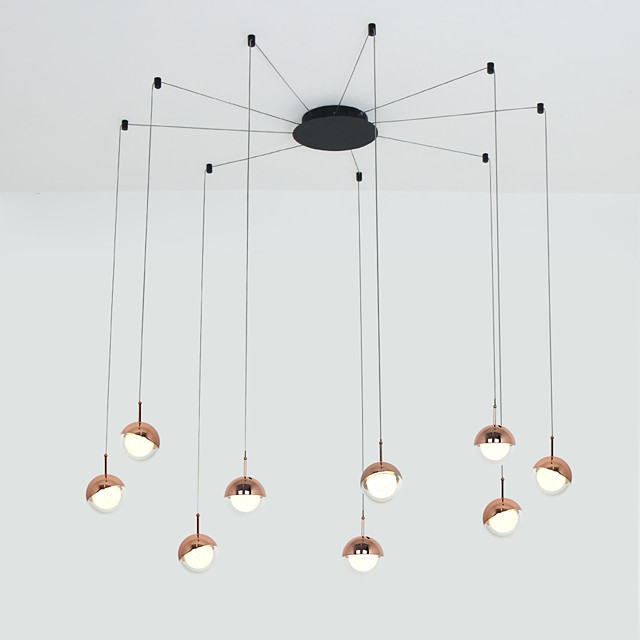 9-Light Modern Chandelier 9 Lights Hanging Lamp Dropping Pendant Ceiling Fixture Led Integrated Bulbs Included for Kichten Dinning Living Office Cafe Room