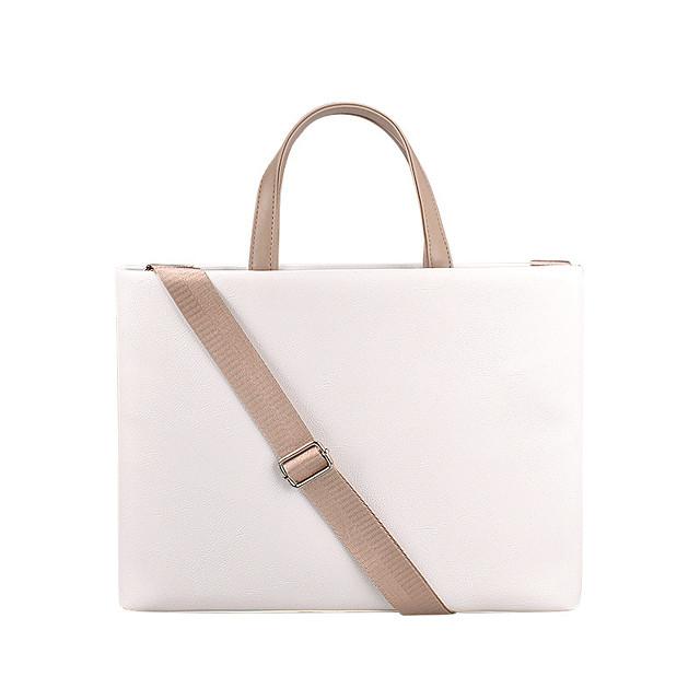 Unisex PU Laptop Bag Zipper Solid Color Daily Office & Career Handbags Pink Beige