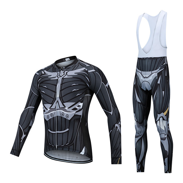 CAWANFLY Men's Long Sleeve Cycling Jersey with Bib Tights Winter Fleece Lycra Black Bike Clothing Suit UV Resistant Quick Dry Sports Oil Painting Mountain Bike MTB Road Bike Cycling Clothing Apparel