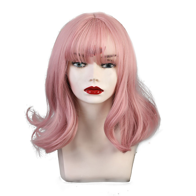 Synthetic Wig Bangs Weave Curly Natural Wave Neat Bang With Bangs Wig Pink Short Light golden Pink+Red Brown Blonde Bright Purple Synthetic Hair 12 inch Women's Party Synthetic Adorable Pink Brown