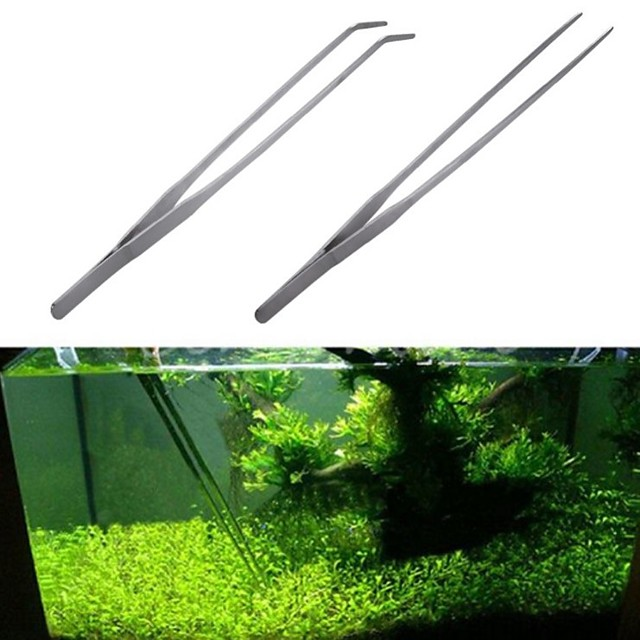 Stainless Steel Fish Tank Tweezers Pliers Plants Tweezers Forceps Clip Aquarium