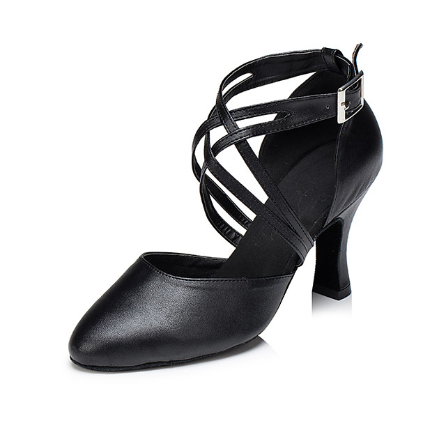 Women's Modern Shoes / Ballroom Shoes Cowhide Cross Strap Heel Tassel Thick Heel Customizable Dance Shoes Black / Red / Performance