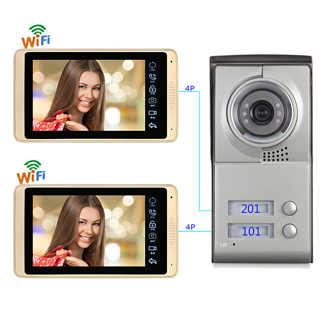 Wired & Wireless 7 Inch Hands-free Door Bell 1024*600 Pixel Wall Mounted  Remote Control  One to One Video Doorphone Support IOS / Android / Mutiple People Log In