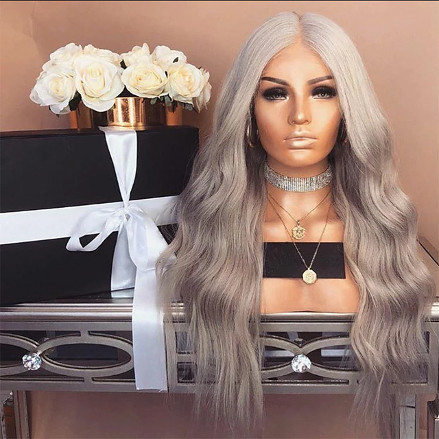 Synthetic Lace Front Wig Body Wave Middle Part Lace Front Wig Long Grey Synthetic Hair 18-24 inch Women's Heat Resistant Party Synthetic Dark Gray