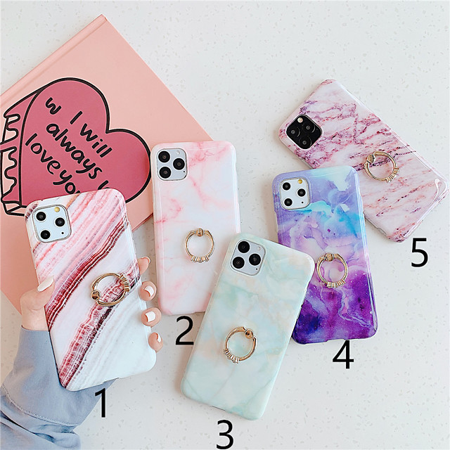 Case For Apple iPhone 11 / iPhone 11 Pro / iPhone 11 Pro Max Ring Holder / Pattern Back Cover Marble TPU