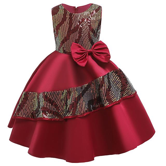 Princess Dress Flower Girl Dress Girls' Movie Cosplay A-Line Slip Cosplay Purple / Red / Dark Green Dress Halloween Carnival Masquerade Polyester Sequin
