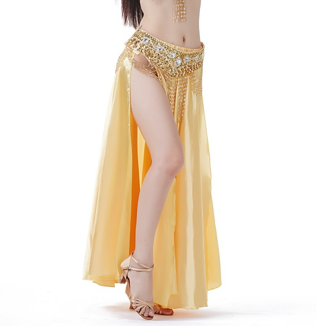 Belly Dance Skirts Lace Glitter Women's Party Performance Natural Satin