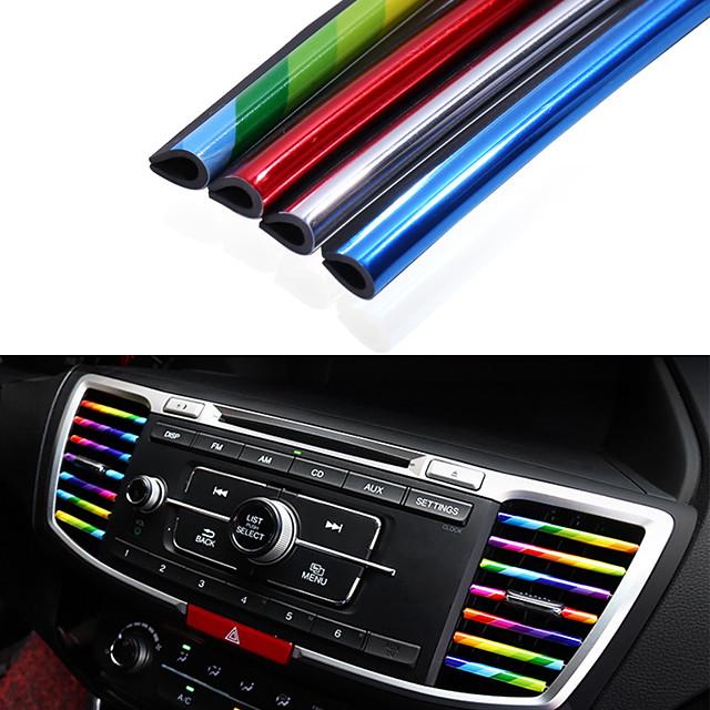10pcs/pack Car Styling Mouldings Air Outlet Trim Strip Cars Decoration Strips Chrome Auto Air Vent Grilles Rim Trim Car Accessories