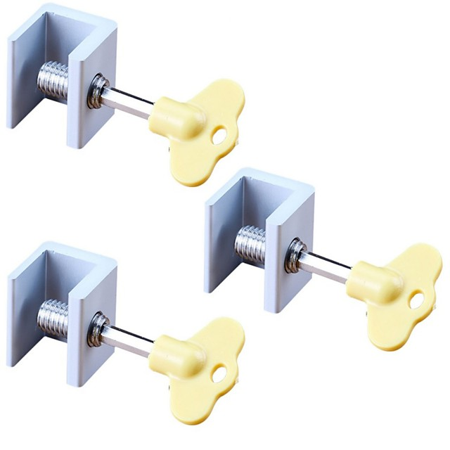 3pcs  Adjustable Sliding Window Aluminum Alloy Stop Locks Security Door Frame Lock with Keys Home Office Security Lock Window
