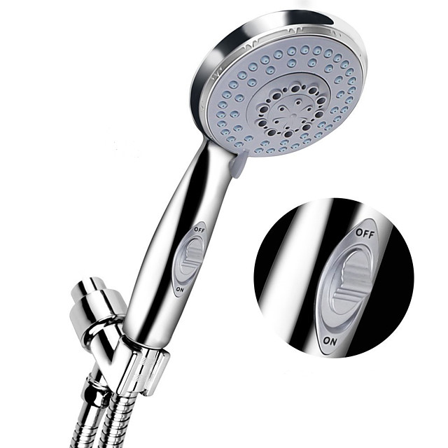 Handheld Big Rainfall Bathroom Shower Head High Pressure 5 Spray Settings Detachable Chrome Finish with Pause Switch