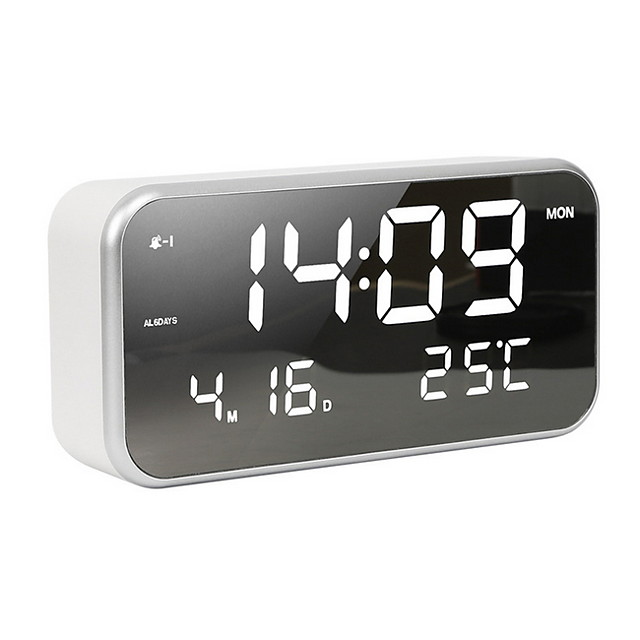 Small LED Digital Alarm Clock with Snooze, Easy to Set, Full Range Brightness Dimmer, Adjustable Alarm Volume with 5 Alarm Sounds, USB Charger, 12/24Hr, Compact Clock for Bedrooms, Bedside, Desk