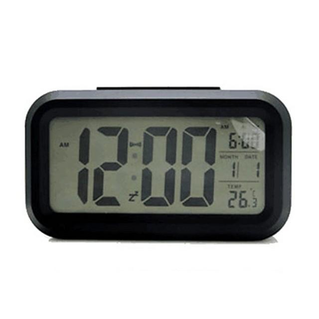 Digital Alarm clock Black Plastics AA Batteries Powered Lighting Wake Up Clock