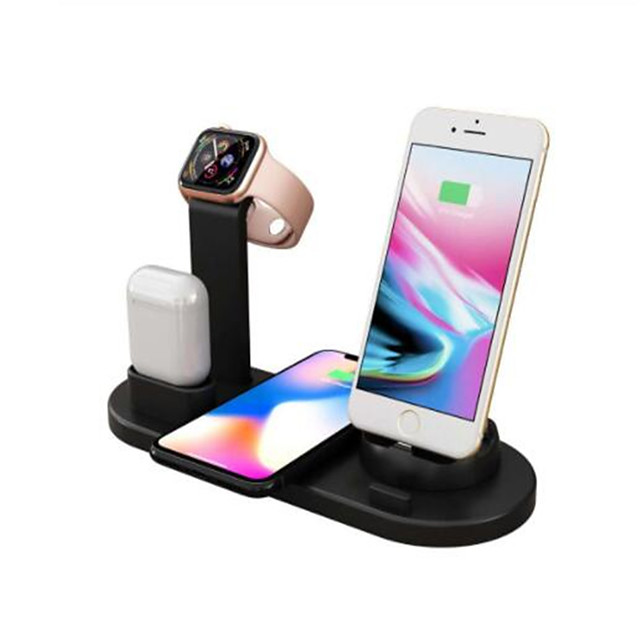 10W Fast Wireless Charger 360 Angle Rotating Desktop IPhone Micro Usb Type-C Triple Charger for Airpods iPhone Samsung Huawei Xiaomi and Others