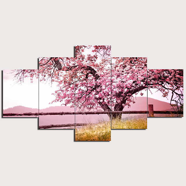 Print Stretched Canvas Prints - Abstract Traditional Modern Five Panels Art Prints