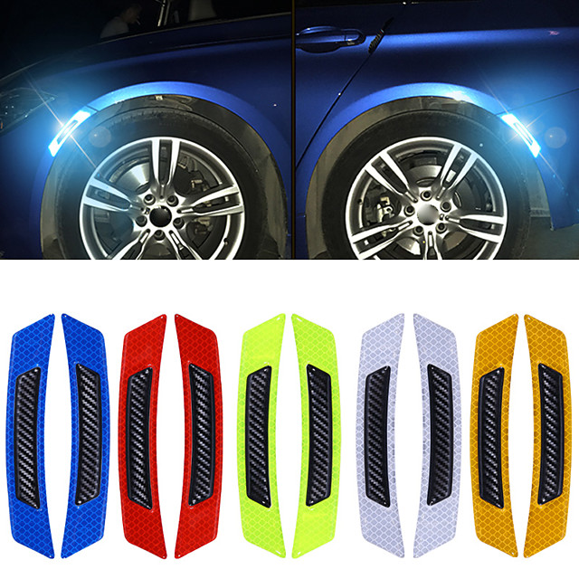 4pcs/lot Car Door Wheel Eyebrow Reflective Sticker Auto Carbon Fiber Reflective Sticker Anti-collision Warning Reflector Protection