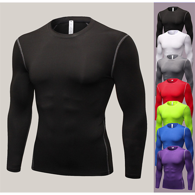YUERLIAN Men's Long Sleeve Compression Shirt Running Base Layer Tee Tshirt Base Layer Base Layer Top Athletic Breathable Quick Dry Ultra Light (UL) Fitness Gym Workout Running Exercise Sportswear