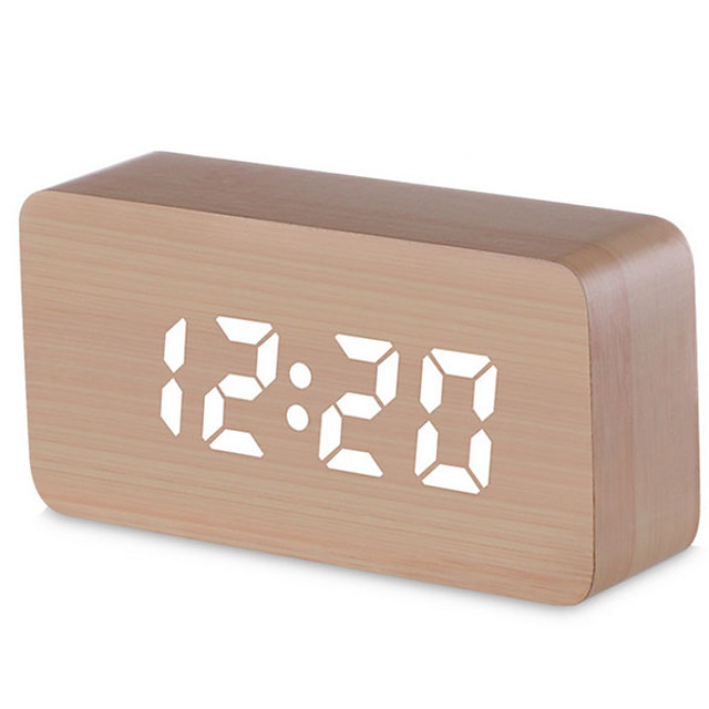 Digital Alarm Clock, Wood LED Light Mini Modern  Desk Alarm Clock Displays Time Date Temperature Kids, Bedroom, Home, Dormitory, Travel