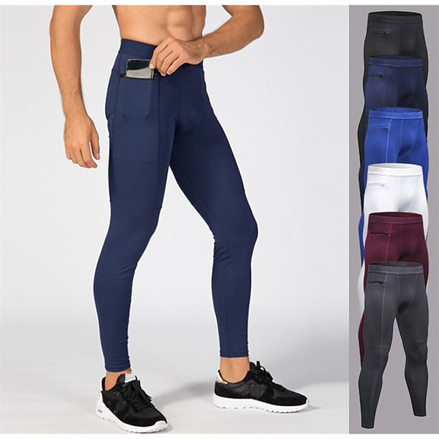 YUERLIAN Men's Running Tights Leggings Compression Pants Athletic Tights Leggings with Phone Pocket Elastane Winter Fitness Gym Workout Running Breathable Quick Dry Moisture Wicking Sport Solid
