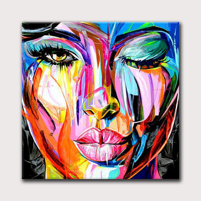 Oil Painting Hand Painted Square Abstract People Modern Rolled Canvas (No Frame)