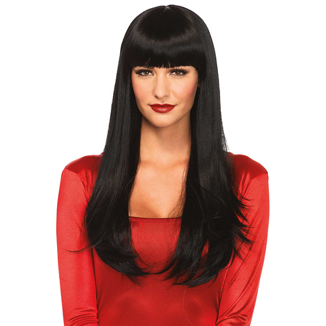Human Hair Wig Very Long Straight Natural Straight Layered Haircut Asymmetrical Side Part Neat Bang Black Party Comfortable Natural Hairline Capless Women's All Natural Black 24 inch