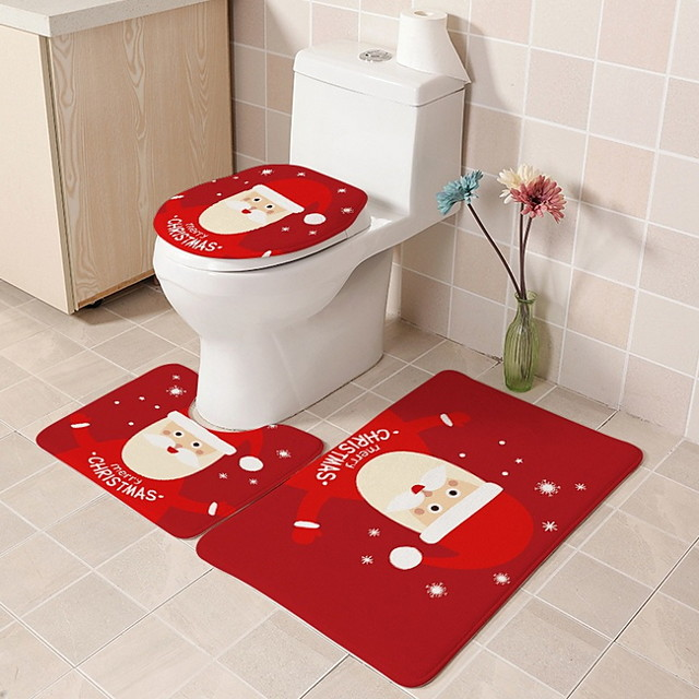 Christmas Door Mat 3 Piece Bathroom Bath Mat Rug Set with Toilet Lid Cover/Christmas Door Mat Theme Polyester Knitted Stretch