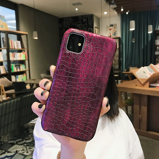 Case For Apple iPhone 11 / iPhone 11 Pro / iPhone 11 Pro Max Shockproof / Dustproof / Ultra-thin Back Cover Solid Colored PU Leather / PC