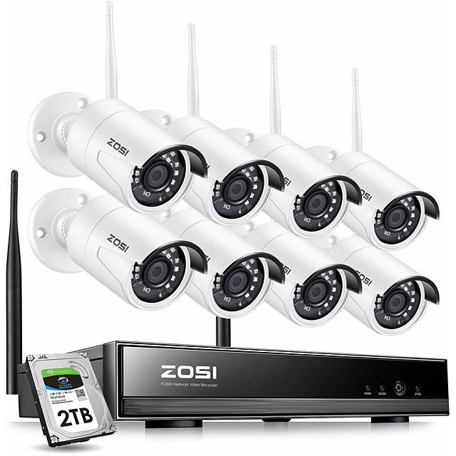 ZOSI 8 CH 1080P H.265 Wireless CCTV System NVR Security System  IR Camera PAL / NTSC CMOS Weatherproof Day Night Vision IP Camera Surveillance Kits