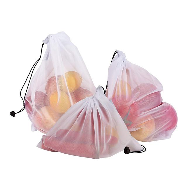 3pcs  Mesh Bag Vegetable And Fruit Net Bag Polyester Mesh Splicing Mesh Bag Reusable Kitchen Storage Products Organizer