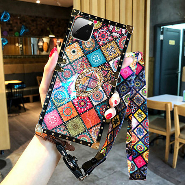 Phone Case For Apple iPhone 12 Pro Max / iPhone 12 Mini / iPhone 11 Pro Max Shockproof  Ring Holder Back Cover Geometric Pattern Silica Gel For iPhone XS Max XR X SE2020 7 8 Plus