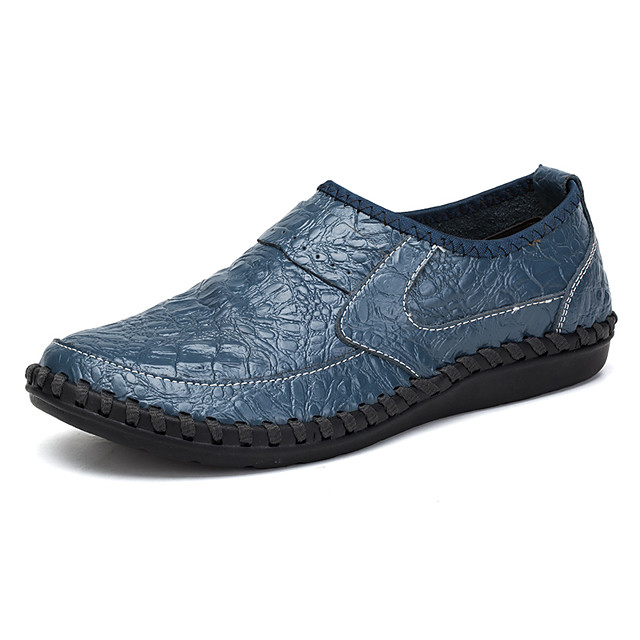 Men's Cowhide Fall / Spring & Summer Casual / British Loafers & Slip-Ons Breathable Green / Blue / Brown