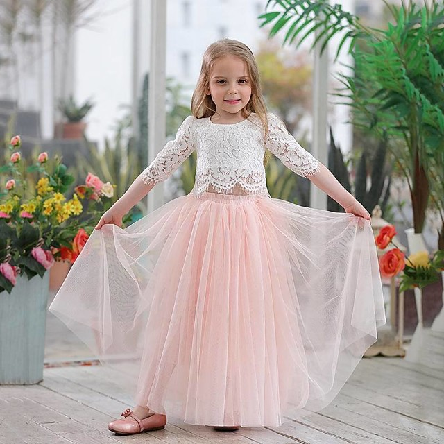 Princess Dress Flower Girl Dress Girls' Movie Cosplay A-Line Slip Cosplay Pink / White Dress Halloween Carnival Masquerade Tulle Lace Polyester