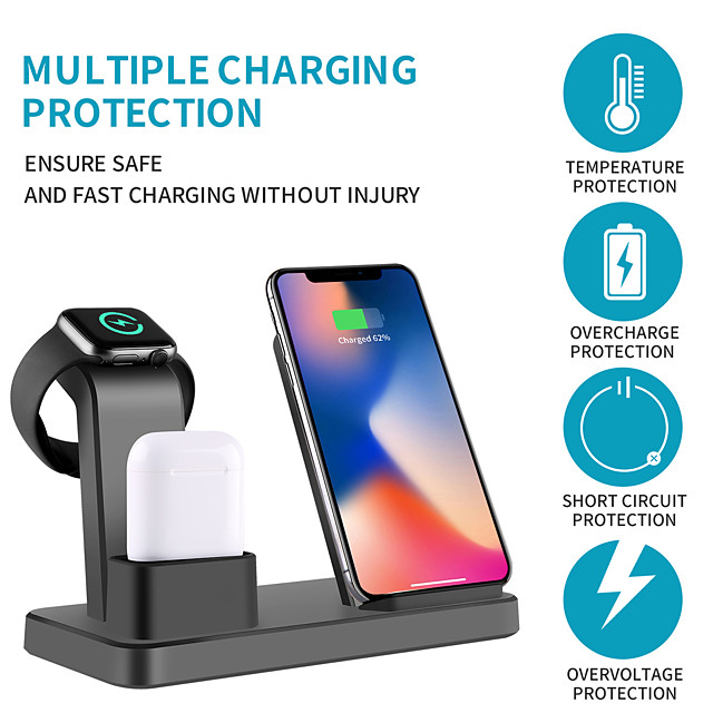 Wireless Charger Multi-function 3 in 1 iPhone iWatch Air Pods Pro Wireless Dock Fast Charger Station for Apple iPhone 12 Pro 11 XS Max XR/ iWatch 6 5 4 3/Samsung S21Ultra S20Plus Xiaomi Huawei Oneplus
